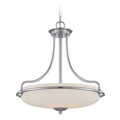 elegancka lampa wisząca ze szklanym kloszem srebrna