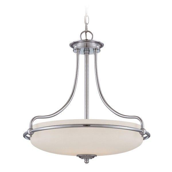 lampa wisząca srebrna szklany klosz klasyczna