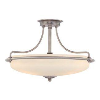 Duża lampa sufitowa Griffin - szklany, biały klosz w srebrnej oprawie