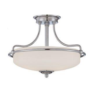 Biała lampa sufitowa Griffin - szklany klosz, polerowany chrom