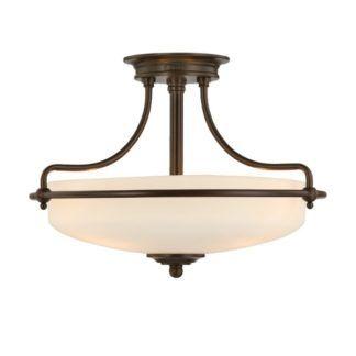 Klasyczna lampa sufitowa Griffin - szklany klosz, ciemnobrązowa oprawa