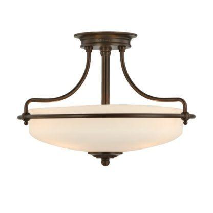 szklana lampa klasyczna w brązowej oprawie