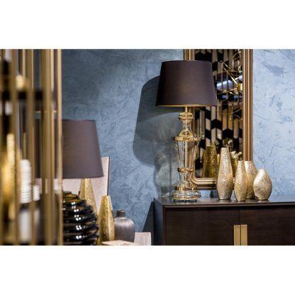 lampa stołowa wysoka, elegancka, szklana