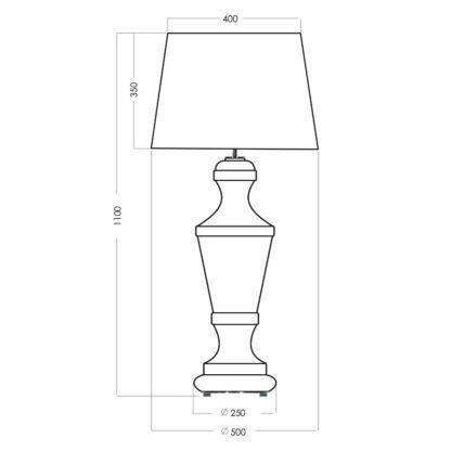 szklana lampa stołowa z czarnym abażurem