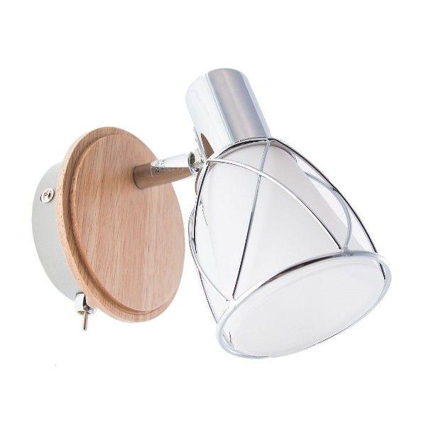 mały kinkiet szklany z drewnianą podstawą