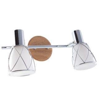 Podwójny kinkiet Rustic - szklane klosze, drewniana podstawa
