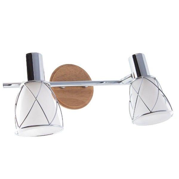 podwójny kinkiet szklane klosze drewniana podstawa