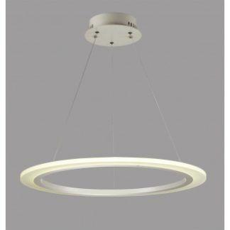 Ledowa lampa wisząca Saturn Ring - srebrna, nowoczesna