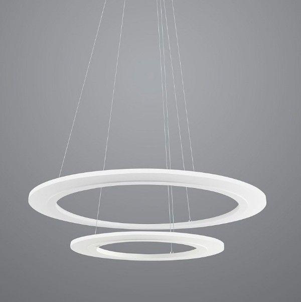 biała lampa wisząca, dwa okręgi led