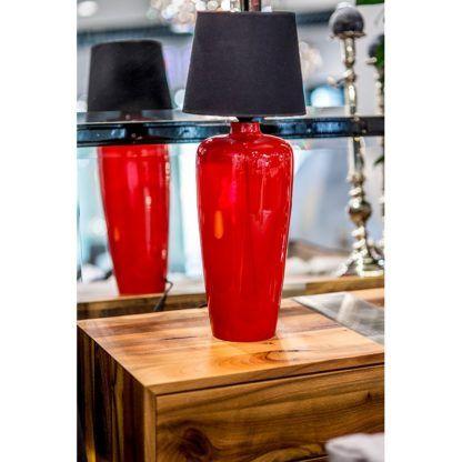 czerwona lampa stołowa nowoczesna
