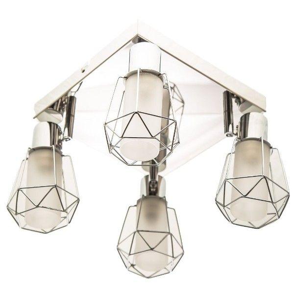 geometryczny plafon ze srebrnymi oprawkami