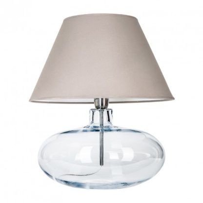 szklana lampa z beżowym abażurem