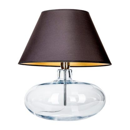 szklana lampa z czarnym abażurem