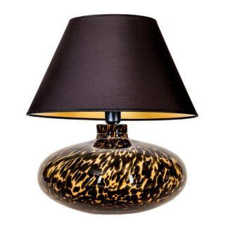 Niewysoka lampa stołowa Tanzania - szklana podstawa w cętki