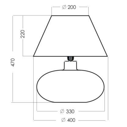 niewysoka szklana lampa stołowa