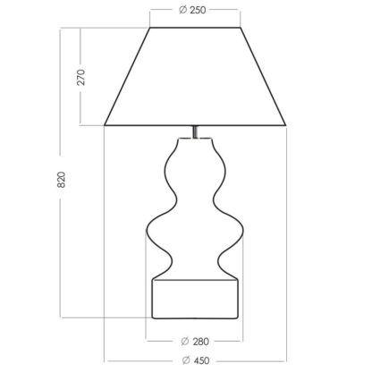 Efektowna lampa stołowa Torino - dekoracyjna podstawa ze szkła
