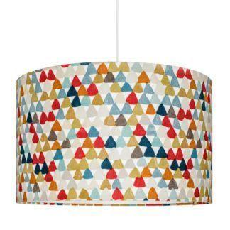 Lampa wisząca Trójkąciki - bawełniany, kolorowy abażur