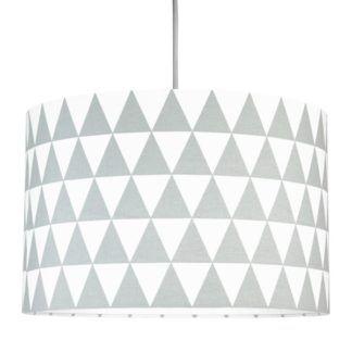 Lampa wisząca Trójkąty - biało-szary abażur z bawełny