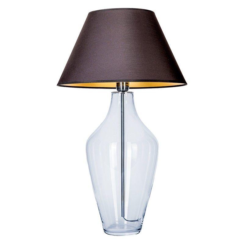 lampa stołowa ze szkła z abażurem