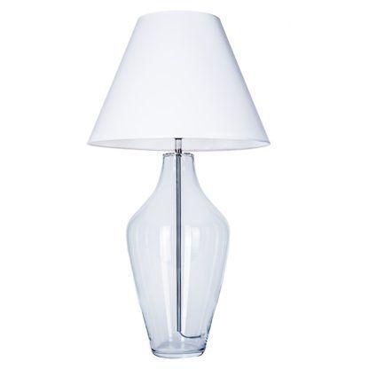 szklana lampa z białym abażurem