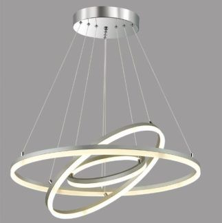 Efektowna lampa wisząca Venus Ring - ledowe okręgi, srebrna
