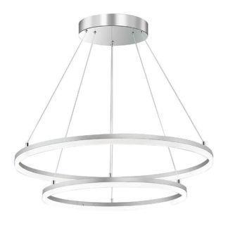 Duża lampa wisząca Venus - okręgi LED, srebrna