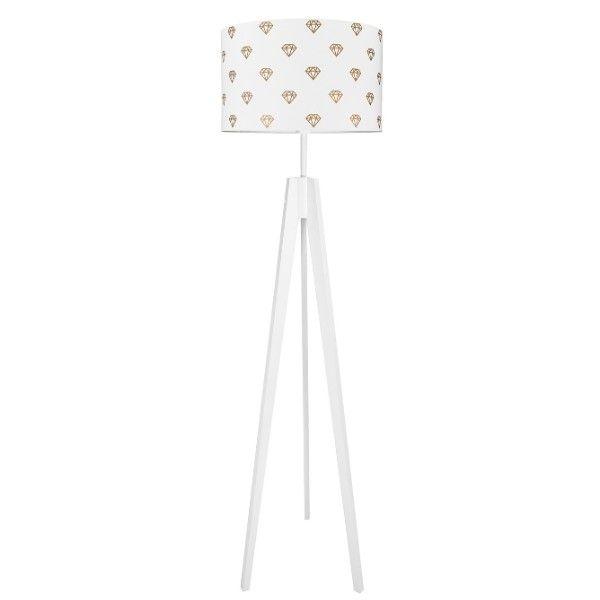 Biała lampa podłogowa Diamenty - drewniany trójnóg