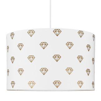 Biała lampa wisząca Diamenty - bawełniany klosz ze złotym motywem