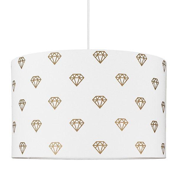 biała lampa wisząca w złote diamenciki