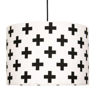Lampa wisząca Krzyżyki - biało-czarny abażur, nowoczesna