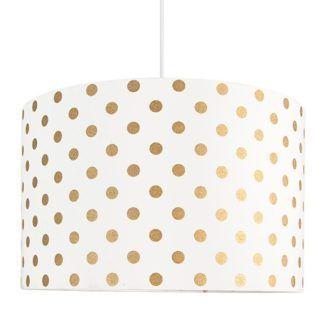 Lampa wisząca Złote Grochy - biały abażur z bawełny