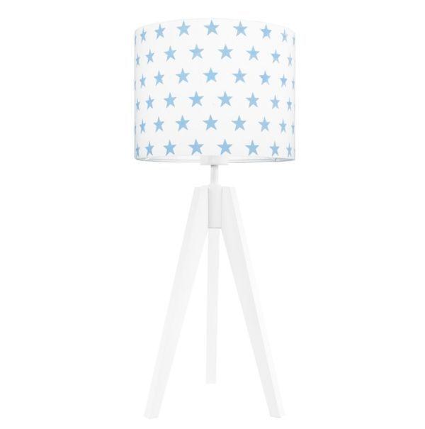 Biała lampa stołowa Young - abażur w błękitne gwiazdki