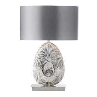 Dekoracyjna lampa stołowa Simeto - srebrna, szary abażur