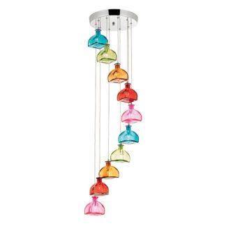 Duża lampa wisząca Sarandon - kolorowe klosze ze szkła