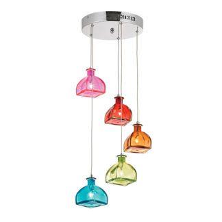 Kolorowa lampa wisząca Sarandon - szklane klosze