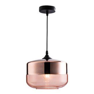Nowoczesna lampa wisząca Willis - miedziana, szklana