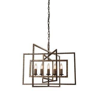 Efektowna lampa wisząca Tibbet - świeczniki, brązowa