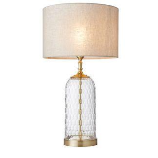 Szklana lampa stołowa Wistow - klasyczna, złote detale