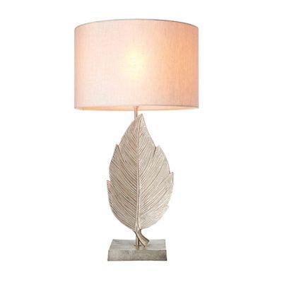 srebrna lampa stołowa liść, beżowy abażur