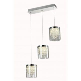 Lampa wisząca Diamondia - 3 szklane klosze z kryształkami, srebrna