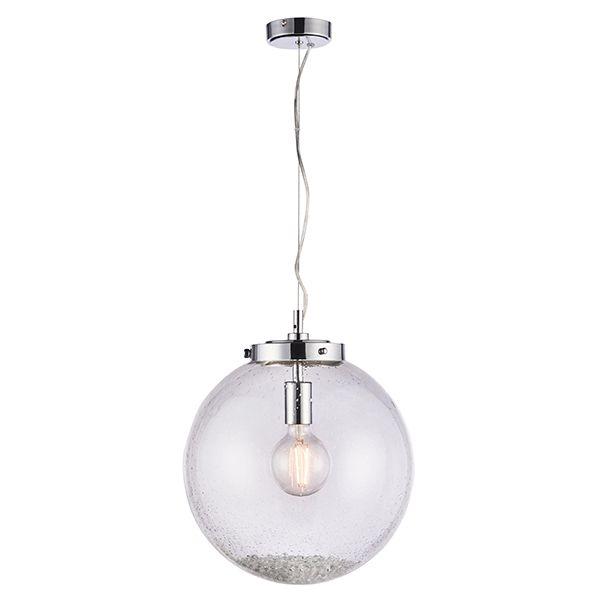 lampa wisząca szklana kula z kryształkami