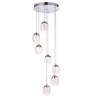 Szklana lampa wisząca Oria - klosze z kryształkami