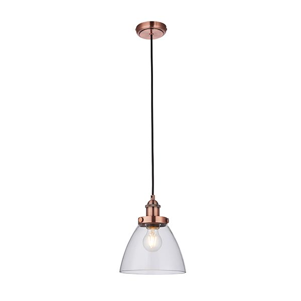 miedziane lampy ze szklanym kloszem aranżacja