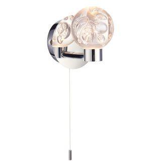 Nowoczesny kinkiet Versa - srebrny, klosz z bąbelkami powietrza, IP44