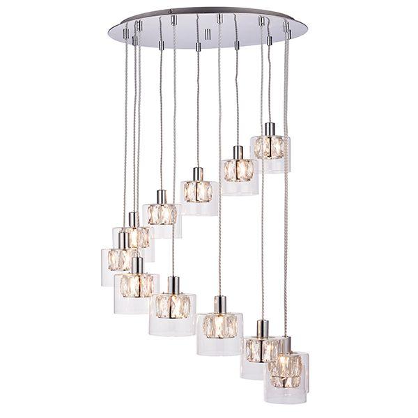 lampa wisząca z małymi kryształowymi kloszami do salonu