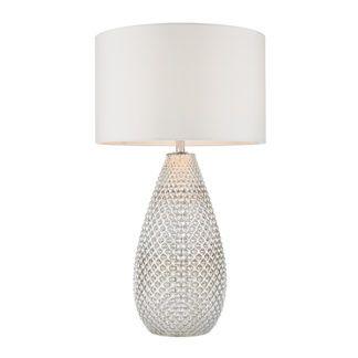 Wysoka lampa stołowa Livia - srebrna, biały abażur
