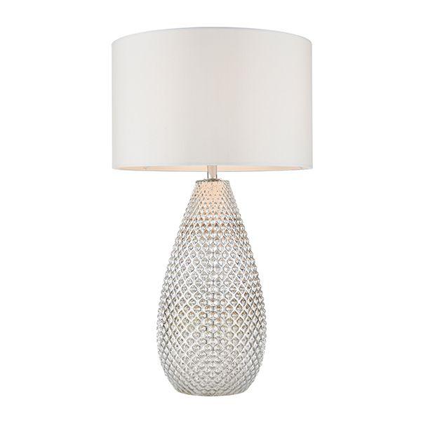 srebrna lampa stołowa z abażurem