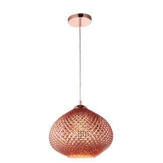 Szklana lampa wisząca Livia - miedziany klosz, styl boho