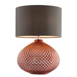 Dekoracyjna lampa stołowa Livia - miedziana, szary abażur