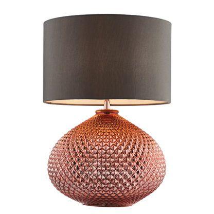 lampa stołowa miedziana podstawa brązowy abażur